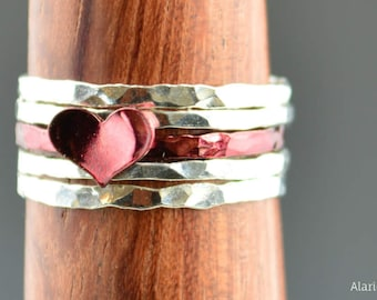 Red Heart Ring, Sterling Silver, Stacking Ring, Personalized Heart Ring, Red Ring, Initial Heart Ring, Initial Ring, BFF Ring, Valentines