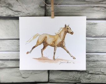 "Horse art original - ""Sorrel cantering"" ink and watercolor painting"