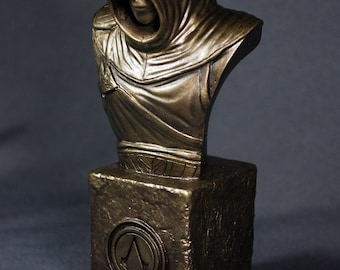 Custom Sculpted Fan Art Inspired by ALTAIR ASSASSIN'S CREED Faux Bronze Bust | 6.30 inches | 16.0 cm