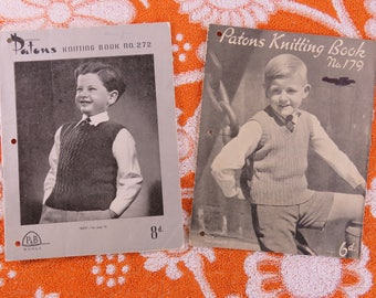 Vintage 1950s  knitting pattern booklets for boys x 2 - classic styles for boys Paton's