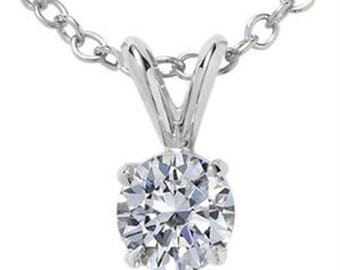 1.00 CT Round White Diamond Solitaire Pendant In 14K Gold