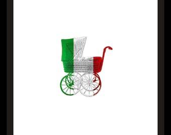 Italian Flag Baby Carriage Printable Art Print