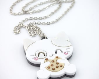 Om Nom Nom Kitty Necklace Pendant Chubby Cat Eating a Cookie.