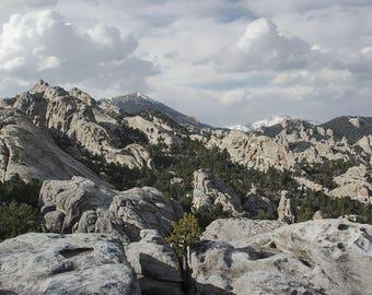 Nature Photography, Idaho Landscape, City of Rocks Fine Art Print, Rock Climber Gift, Cloudy Sky Photo, Mountain Scene Photo Print
