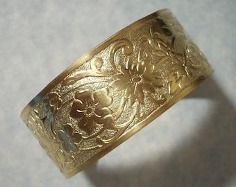Unfinished Raw Brass Raised Flower Cuff Bracelet Blank