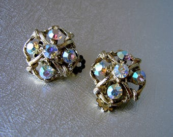 Aurora Borealis Rhinestone Clip Back Earrings Vintage Costume Jewelry Wedding Bridal Formal Pageant Ballroom Prom Theater Gold Tone Setting