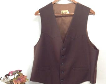 Vintage Lee Suit Vest - Brown Lee Vest - Lee Suit Vest Large