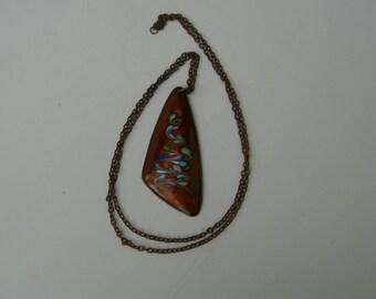 Vintage copper abstract enamel pendant necklace