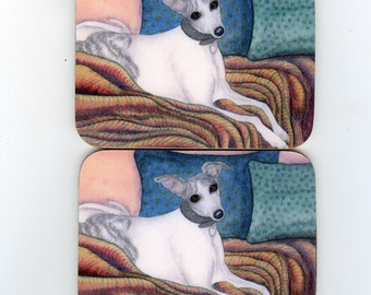 2 x whippet greyhound dog at home coasters