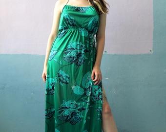 Vtg 70s Slinky Halter Maxi Dress / Rose Print /