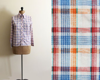 vintage shirt plaid retro 70s button down western orange blue clothing size s small