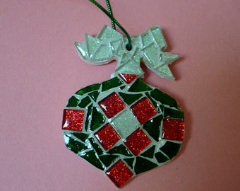 Mosaic Christmas Ornament in Red Green and White