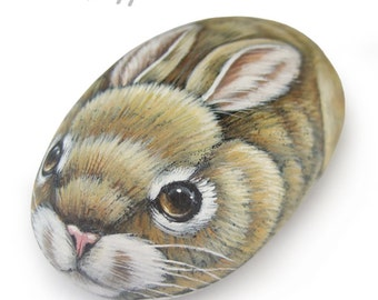 Sweet Rock Painted Bunny | Stone Art by Roberto Rizzo
