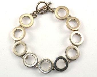 Vintage Round Disk Links Modern Toggle Bracelet 925 Sterling BR 693