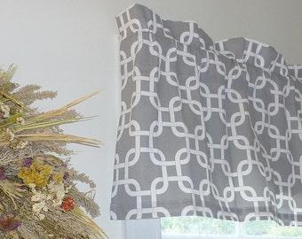 Grey Window Valance - Grey Window Curtains  - Grey Valances - Gotcha Grey Window Valance 52 x 16 with Ruffled Top