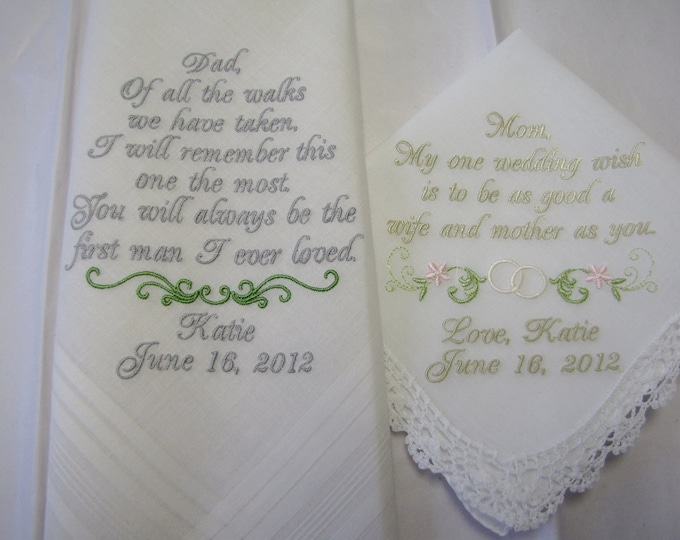 IVORY Personalized Wedding Handkerchiefs for Mother of the Bride and Father of the Bride