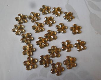x 50 rhinestone flower yellow paste acrylic 10 mm