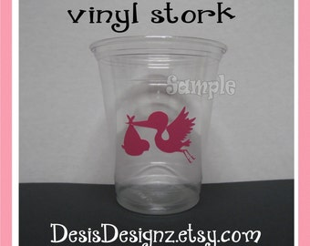 24 Baby shower Storks vinyl decals Girl baby shower decorations sprinkle party vinyl cup stickers Party cup Baby girl vynil cup stickers
