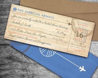 Vintage Airline Boarding Pass Bridal Shower Invitation // PanAm Airlines // Digital File // DIY // Pan American Airways