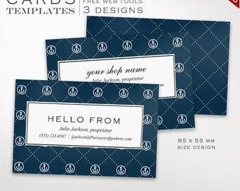 Business Card Template - Nautical Business Card Design Template - DIY Printable Business Card Template Design Moo Europe BCEU AAC