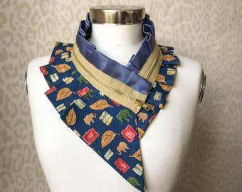 Collier femme, collier foulard en soie, col en soie, collier femme, collier plastron, accessoires pour femmes, accessoires extravagants #235