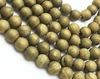 1 Full Strand Gold Druzy Agate Beads , 6mm 8mm 10mm 12mm Druzy Round Beads , Gemstone Beads