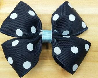 Small Navy Blue Polka Dot and Light Blue Pinwheel Ribbon Bow