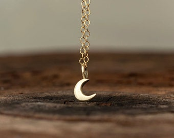 Crescent Moon Necklace 14k solid Gold Extra Tiny Pendant Gift for Her rose to the moon and back birthday Gift bridal Dainty lunar mothersday