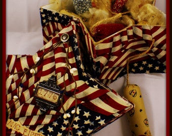 Vintage Style Americana 4th of July Fireworks Box with 12 Handmade Firework Ornies