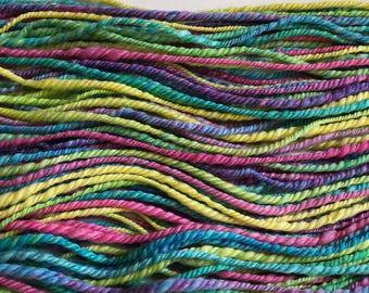 Cosmic - hand spun yarn - rainbow yarn - 100 yards - hand dyed merino wool - worsted - 3 ply yarn - merino and silk yarn - exotic fiber yarn