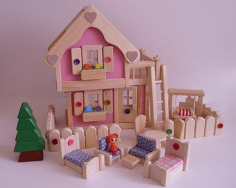 Wooden Dollhouse, Doll House, Wood Toy Furniture, Waldorf inspired toy, Kids Birthday gift, Jacobs Wooden Toys 'PINK BLOSSOM'