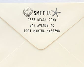Custom Rubber Stamp - Custom Address Stamp - Return Address Stamp - Personalised Address Stamp - Gift - Beach