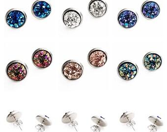 HYPOALLERGENIC EARRINGS Faux Druzy Earrings 10mm MEDIUM Stud Druzy Earrings Surgical Stainless Steel Earrings, Clothing Gift, gift for her