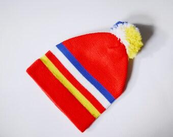 1970s Red Striped Winter Hat with Pom Pom