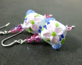 Light Pink Purple Crystal Floral Earrings, Flower Dangle Earrings, Botanical Earrings, Cottage Chic Lampwork Earrings, Romantic Earrings