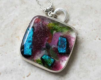 SALE Purple Dichroic Glass Pendant in Sterling Silver, Handcrafted