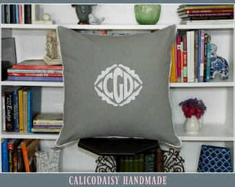 Applique Monogrammed Euro Sham - Two Sided - Hidden Zipper