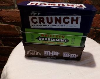 Candy tins, M&M candy tin, Gum candy tin, Crunch candy tin, 3 candy tins, Candy collector tins, Morethebuckles
