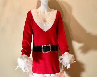 Hand made Women's Santa Tacky Ugly Christmas Sweater Dress with Belt, Boas and Lights Sizes (2X & 3X)