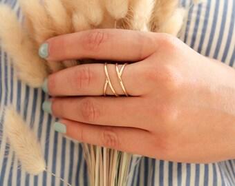 Cadeaux de fête des mères, anneau de sirène, bagues - or bague-dainty or bague-bague-thin or bague-pile bague-amitié anneau de promesse d'empilage