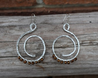 Hammered Spiral Earrings | Hypoallergenic