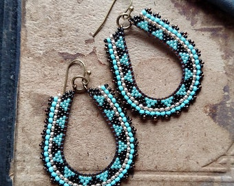 Blue and Gold Beaded Hoops, Geometric Beadwork with Aqua Accents, Southwest Inspired, Brass Oval Hoop Earrings, Seed Bead Earrings