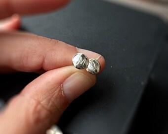 Tiny Stud Earrings Custom Hand Stamped Initials Bridesmaids Earrings Gift Mr & Mrs Wedding Jewelry Sterling Silver Post Earrings