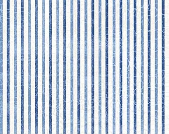 Blue and White Stripe Fabric - Nautical/Ocean/Summer/Shore Themed - Quilting Cotton [[by the half yard]]