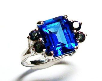 "Electric blue topaz, accent topaz ring, mystic topaz, blue pink green, statement ring , engagement ring, s 5 1/2 ""Marry Me"""