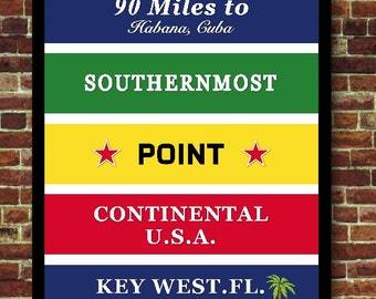 Florida Key West Cuba travel art print poster USA