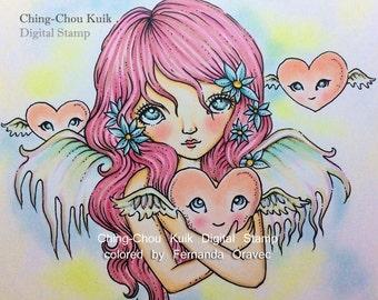Gentle Heart - Digital Stamp Instant Download / LOVE Flying heart Angel Fairy Girl by Ching-Chou Kuik