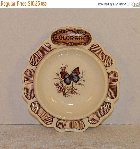 Delayed Shipping Colorado Dish Treasure Craft Vintage 1970s Wood Look Butterfly Trinket Bowl Colorado Souvenir Durango Made in USA Butterfly