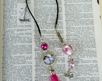 Love my Cat bookmark Cat Lover bookmark Pink Beaded bookmark Cat Bookmark Book accessories Best friend Gift Cat lover gifts under 20