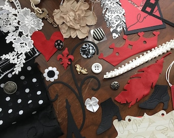 Journal KIT, Black White Red 48 + Pieces Lace Leather Fabric Mixed Media Textile Art Journals Collages Scrapbooking Quilts Fabric Albums